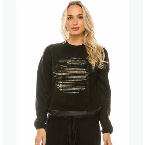 Rhinestone Line Suede Sweater by Yal