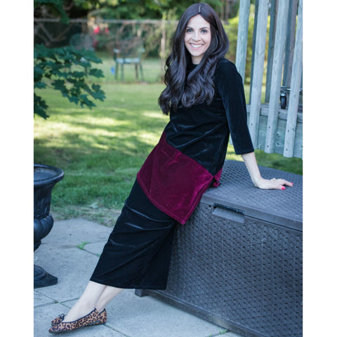 Velvet 2 Piece Set: Black/Wine