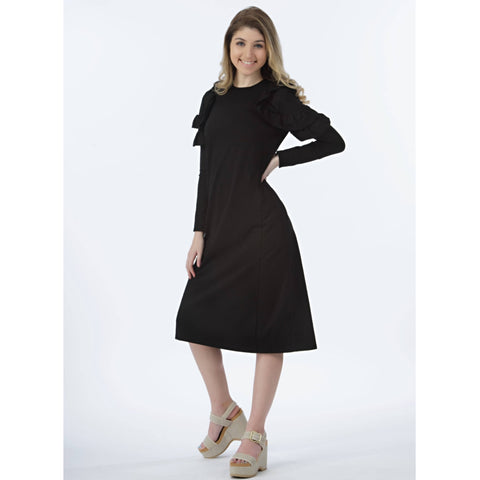 Ruffle Havah Tribe Dress: Black
