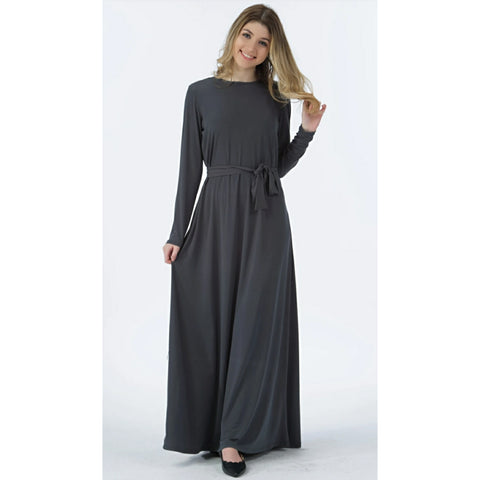 Basic Maxi Dress: Grey (Havah Tribe)