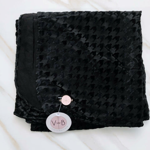 Black Houndstooth Velvet Headscarf by Valeri