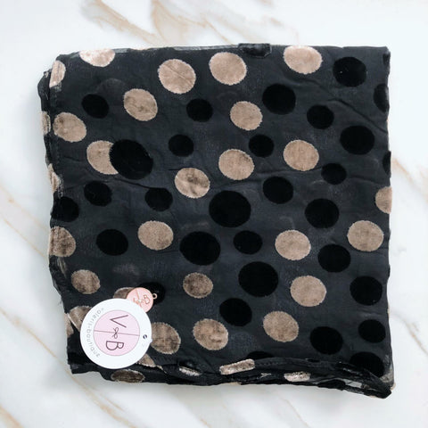 Polka Dot Velvet Headscarf by Valeri