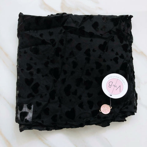 Black Velvet Heart Headscarf by Valeri