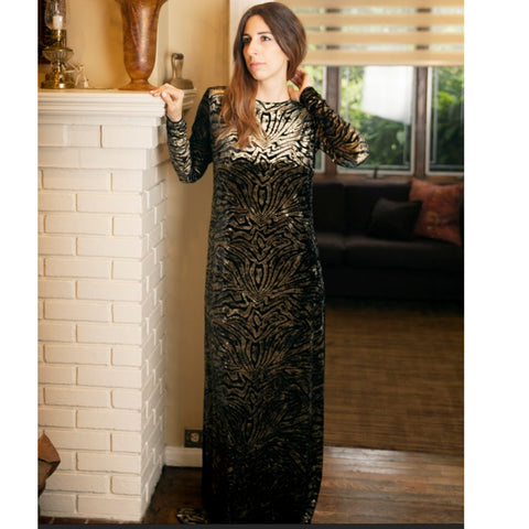 Metallic Tiger Velvet Maxi by JackieO: Gold