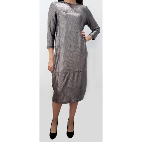 Metallic Jenny Dress: Pewter Silver