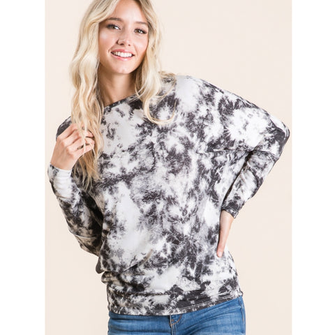 Black & White Dolman Tye Dye Top