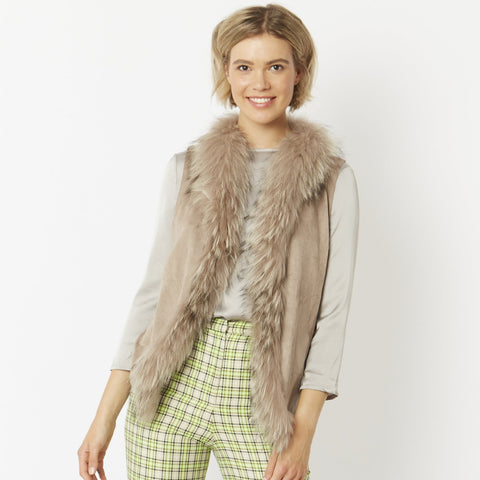 Fur Trim Sleeveless Vests: Many Colors