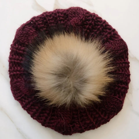 Cable Knit Pom Beret by Valeri