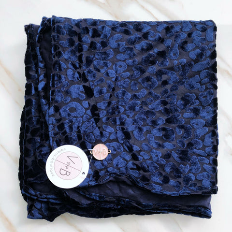 Blue Leopard Velvet Headscarf by Valeri