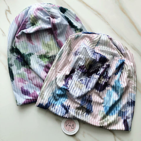 Watercolor Ribbed Velvet Beanie by Valeri