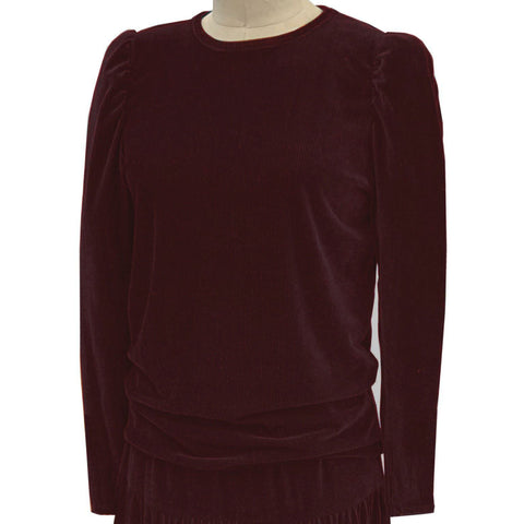 Velvet Puff Sleeve Shirt: Burgundy