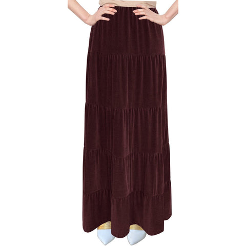 Velvet Tiered Maxi Skirt: Burgundy