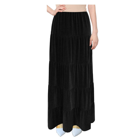 Velvet Tiered Maxi Skirt: Black
