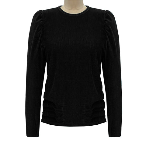 Velvet Puff Sleeve Shirt: Black