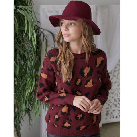 Burgundy Leopard Sweater