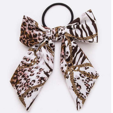 Bow Ponytails: Animal Print/Chain