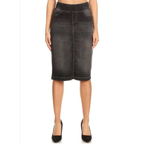 Denim Skirt by G: Black Wash