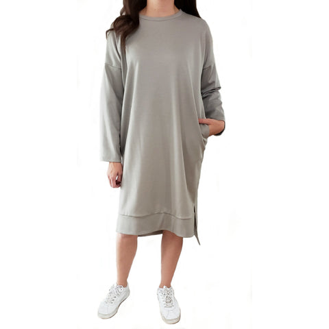 Sweatshirt Hi Lo Dress: Greyish/Taupe