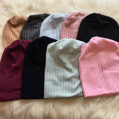 Soft Ribbed Knit Sweater Beanies