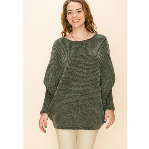 Chenille Dolman Sweater: Olive