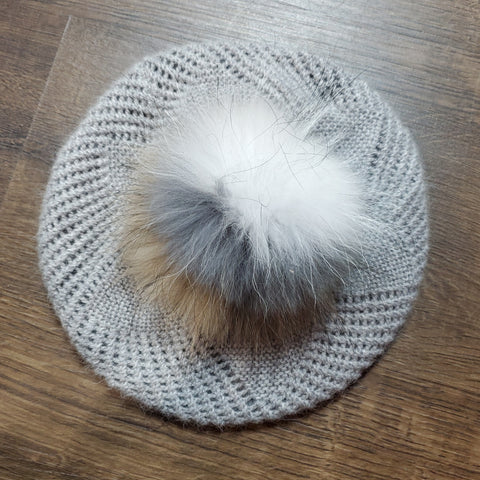 Pom Pom Beret: Light Grey