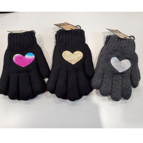 Foil Heart Knit Gloves (Double Layered!)