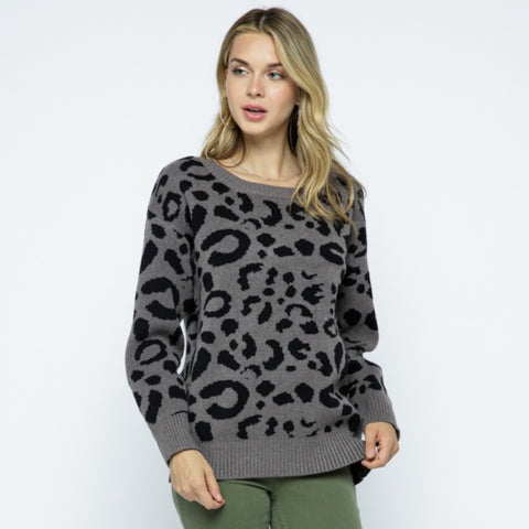 Leopard Sweater: Charcoal