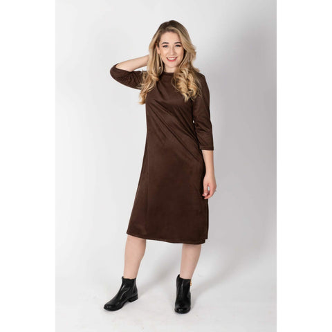 Penny Dress: Brown Suede Dotted