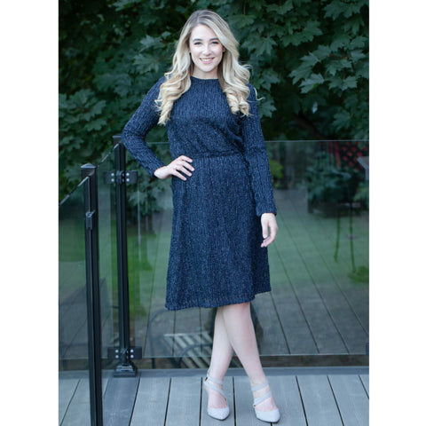 Everything Dress: Shiny Navy Jacquard