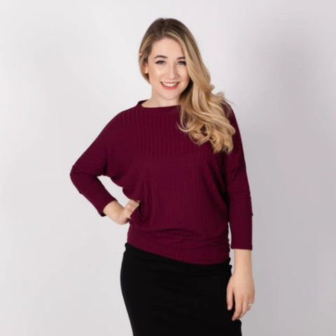 Ribbed Dolman Top: Wine