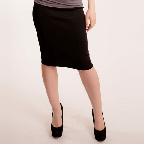 Modal Pencil Skirt: Black