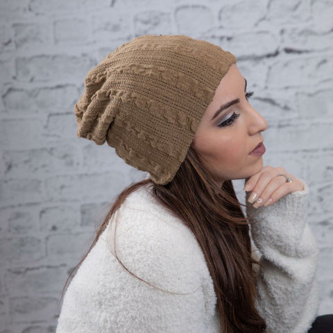 Ruffle Cableknit Beanie by Valeri
