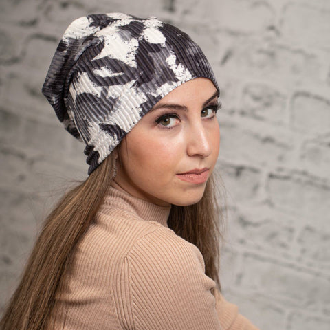 B&W Watercolor Ribbed Velvet Beanie by Valeri