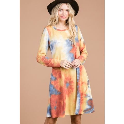 Tina Tye Dye Swing Dress Petite: Yellow/ Blue