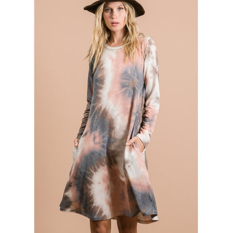 Tina Tye Dye Swing Dress Petite: Earthy