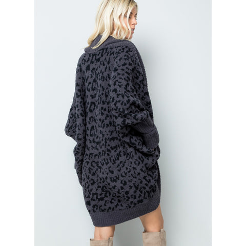 Snow Leopard Cardigan: Black/Grey