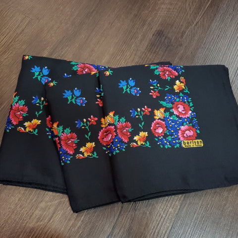 Colorful Floral Tichel: Black