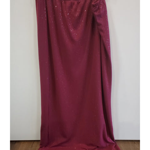 Glitter Ribbed Maxi Skirt: Burgundy