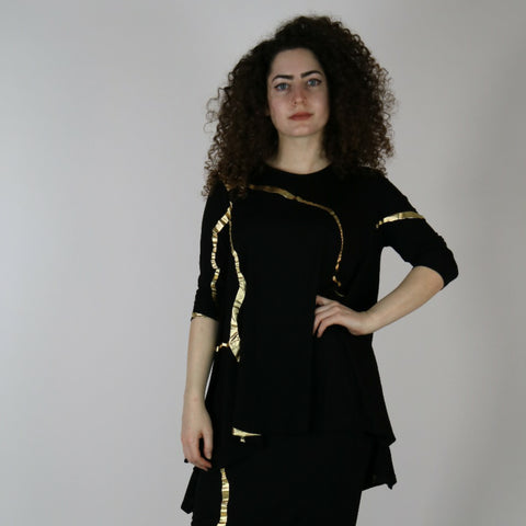 Nana Top by Mikah: Black/Gold Organic Foil