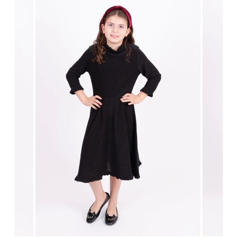 Shimmer Ruffle Collar Dress: Black