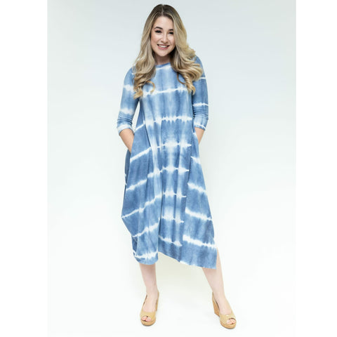 Georgiana Dress - Striped Tie Dye Denim Blue