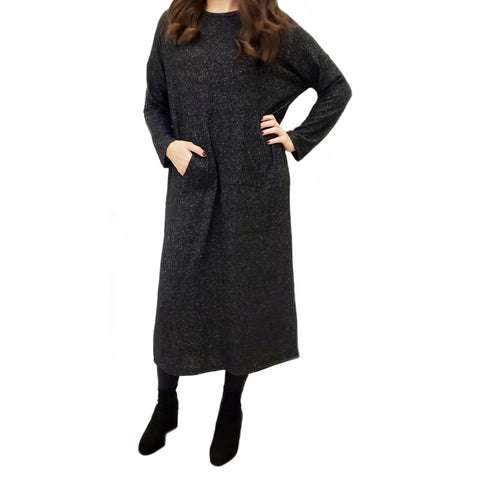 Sweater Front Pocket Dolman Dress