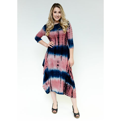 Georgiana Dress - Navy Rose Tye Dye