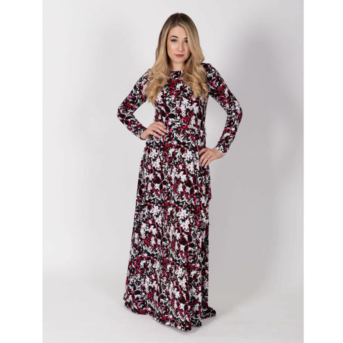 Pink/ Red Floral Belted Maxi