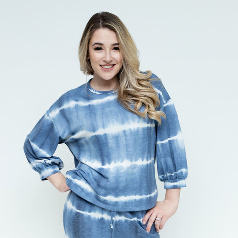Tye Dye Sweatshirt Top: Blue Stripe