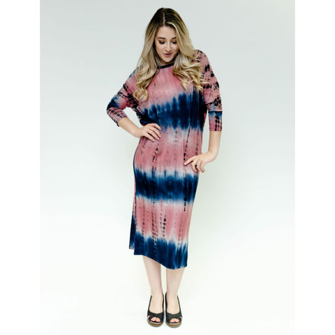 Deena Dolman Dress: Tye Dye Rose/Navy
