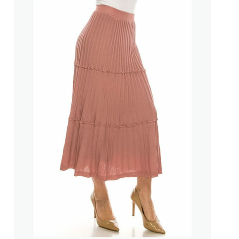 Ribbed Midi Skirt by Yal: Pink