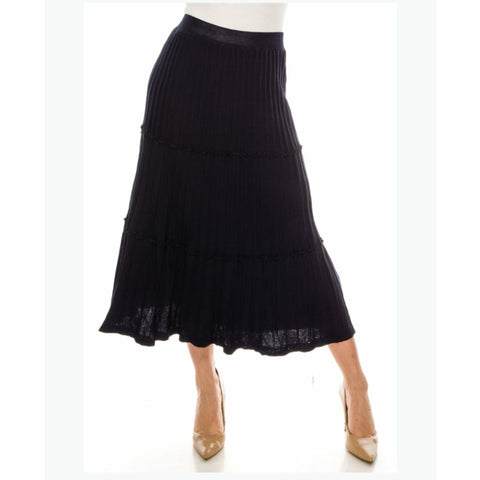 Ribbed Midi Skirt by Yal: Navy