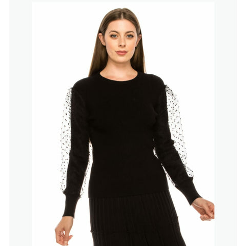 Dotted Mesh Sleeve Sweater by Yal