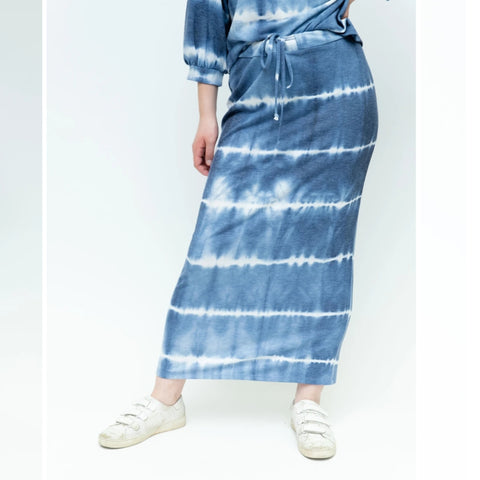 Tye Dye Sweatshirt Mid Skirt: Blue Stripe